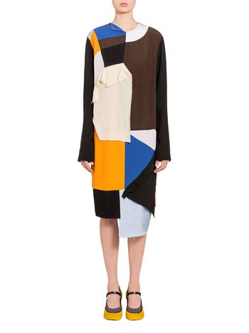 Marni Asymmetrical dress in washed crepe Woman