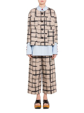Marni Boxy jacket in drill Tar print Woman