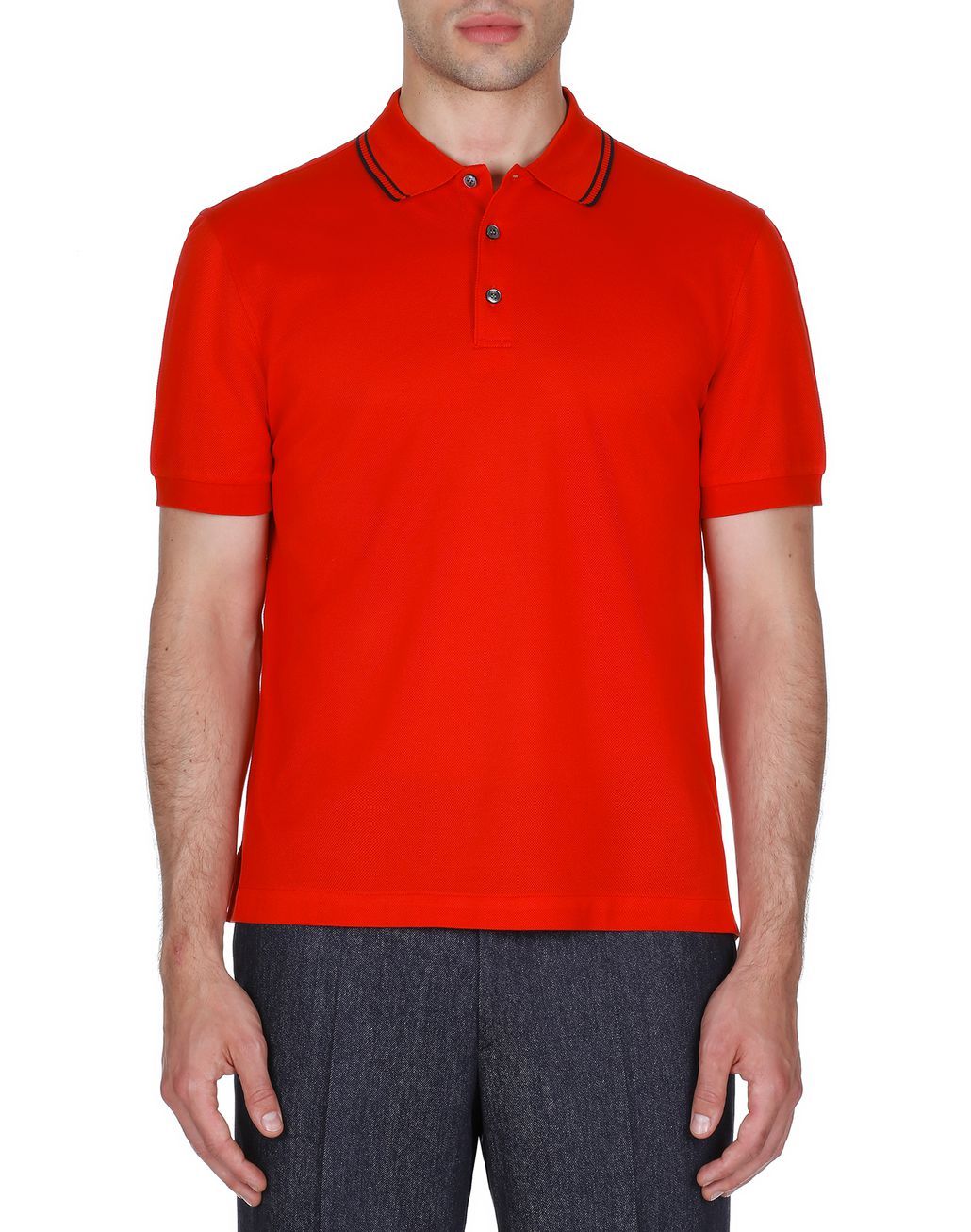 BRIONI Red Logoed Piquet Polo Shirt T-Shirts & Polos [*** pickupInStoreShippingNotGuaranteed_info ***] r
