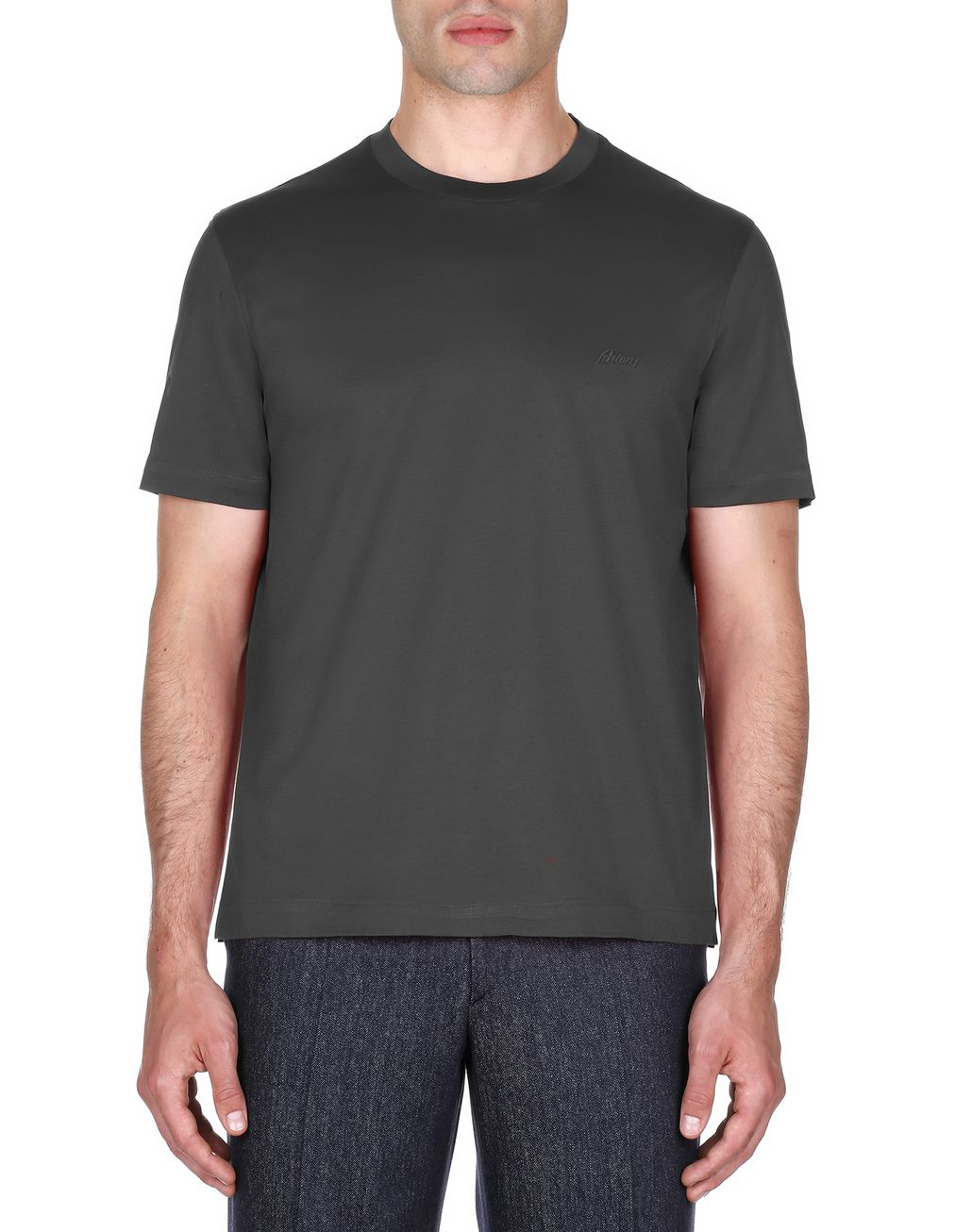 BRIONI Antrachite Logoed T-Shirt T-Shirts & Polos [*** pickupInStoreShippingNotGuaranteed_info ***] r