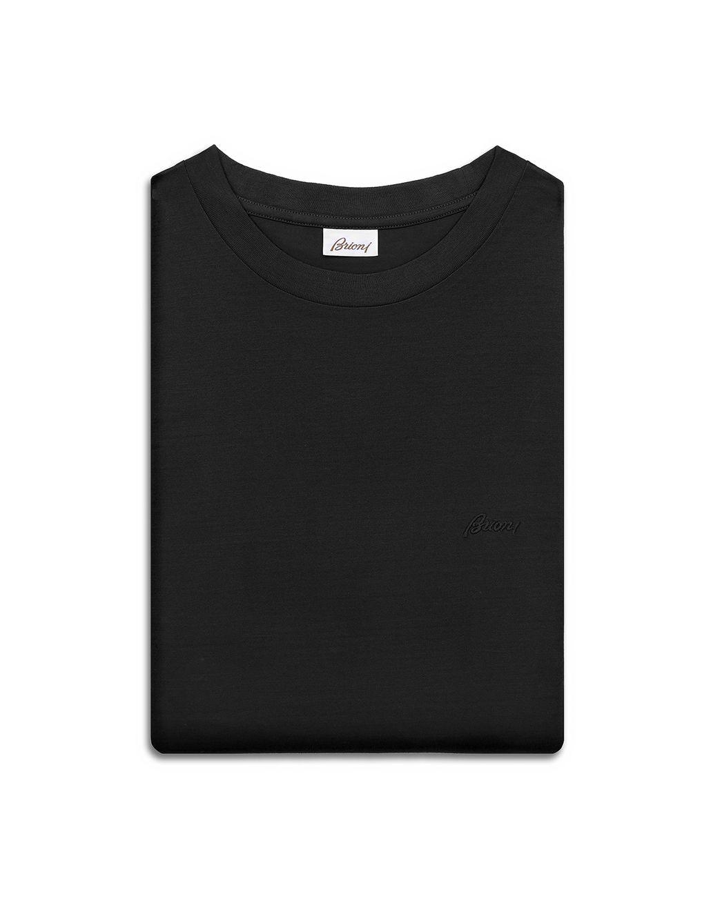 BRIONI T-Shirt Nera con Logo T-Shirt & Polo [*** pickupInStoreShippingNotGuaranteed_info ***] e