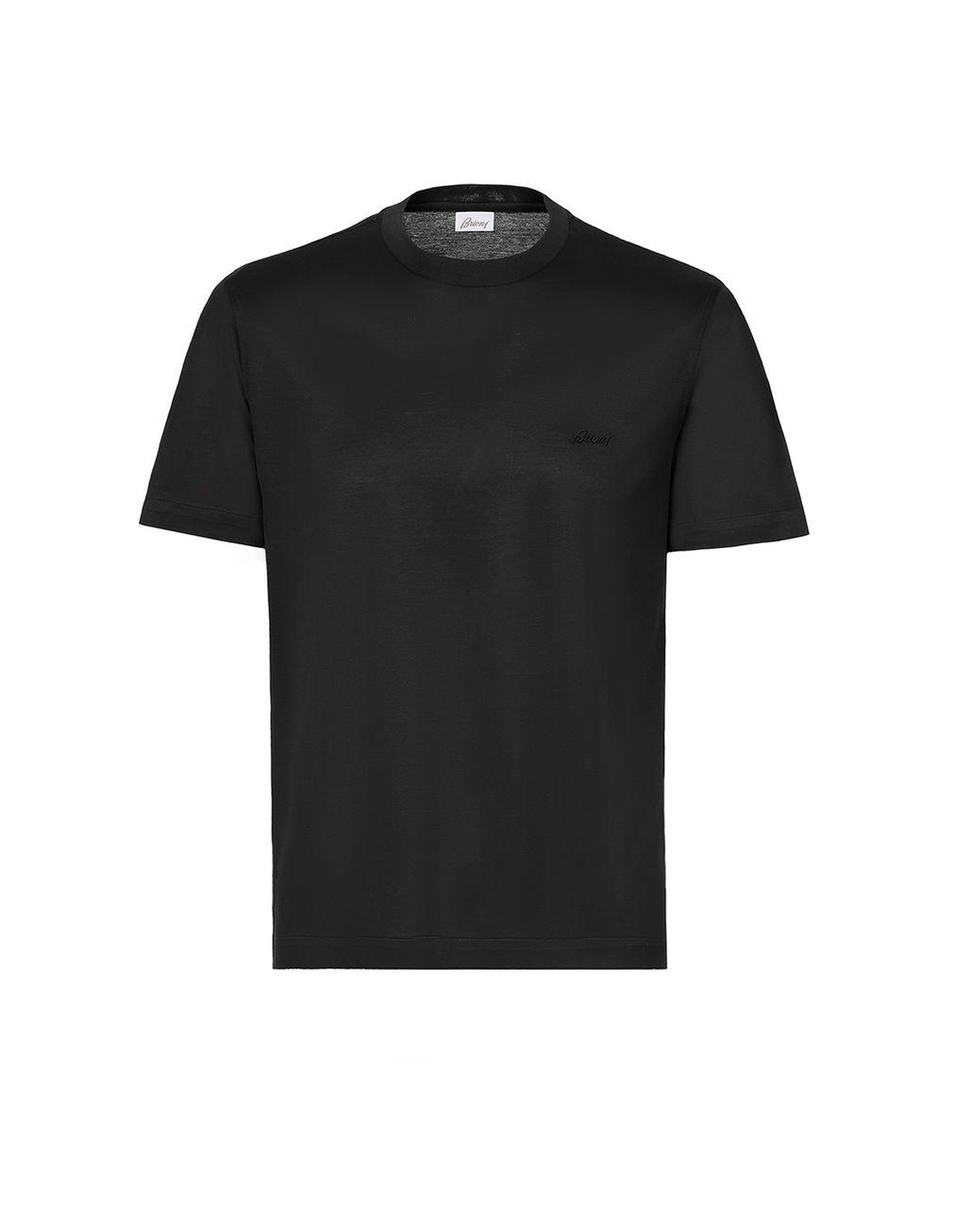 BRIONI Black Logoed T-Shirt T-Shirts & Polos Man f