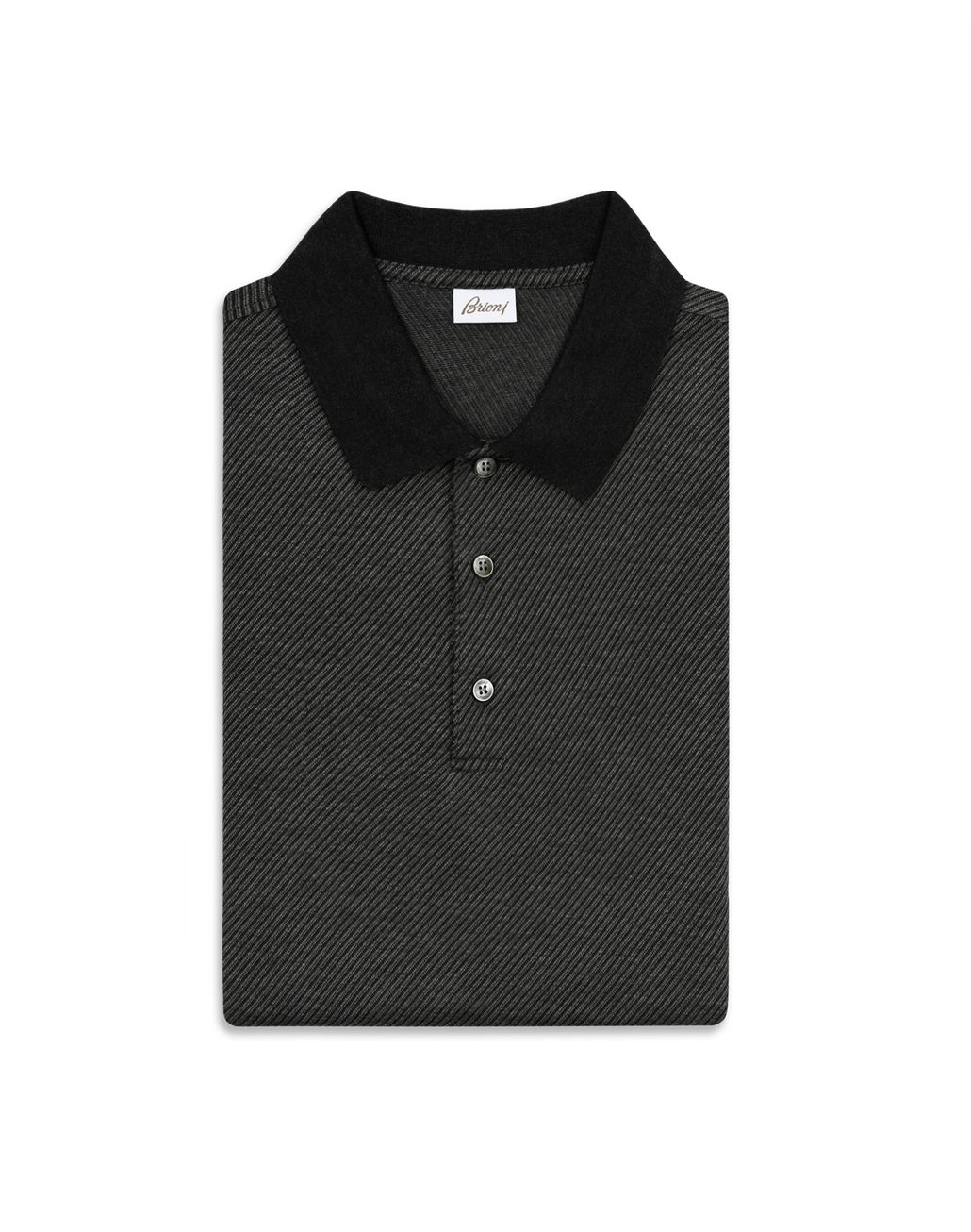 BRIONI Antrachite Jacquard Polo Shirt T-Shirts & Polos Man e