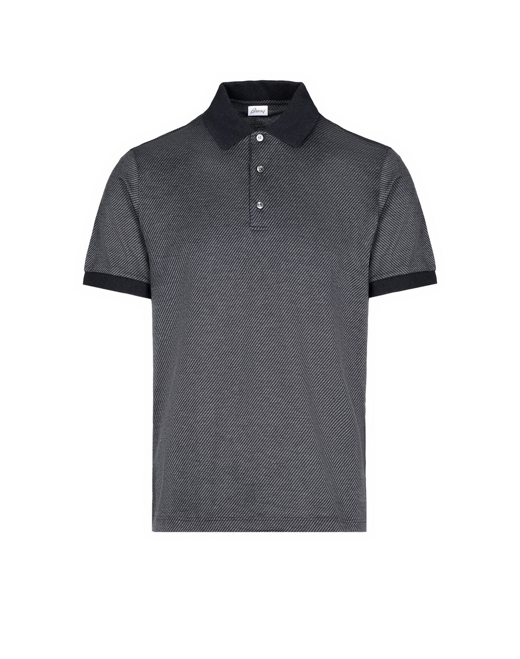 BRIONI Antrachite Jaquard Polo Shirt T-Shirts & Polos Man f