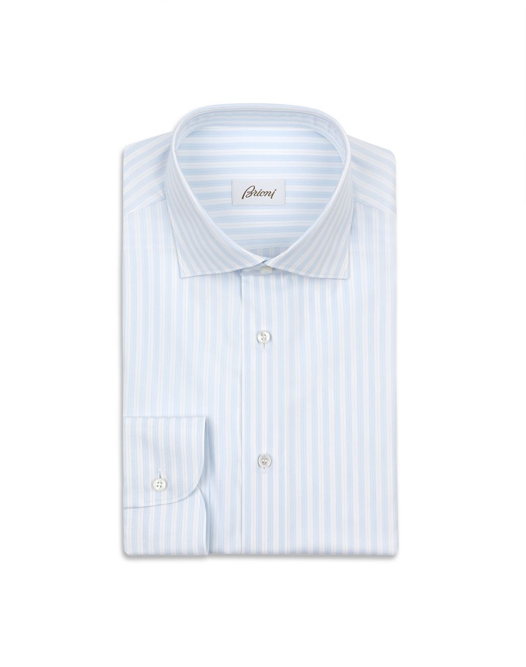 BRIONI Sky Blue and White Striped Shirt Formal shirt Man f