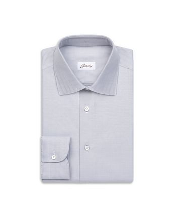 White and Lead Herringbone Shirt