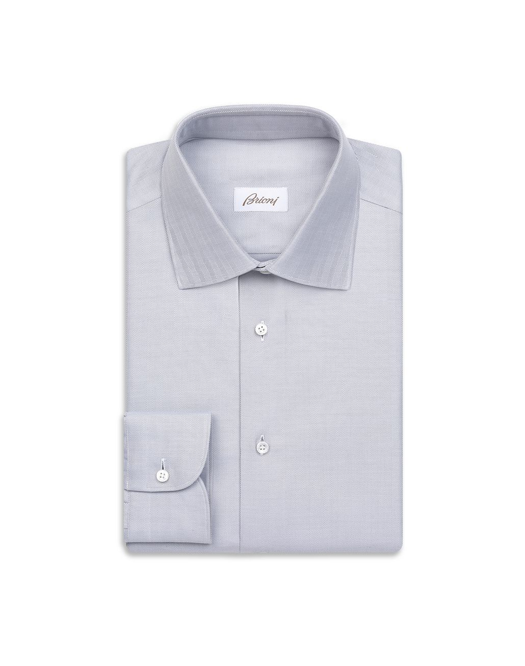 BRIONI White and Lead Herringbone Shirt Chemise habillée Homme f