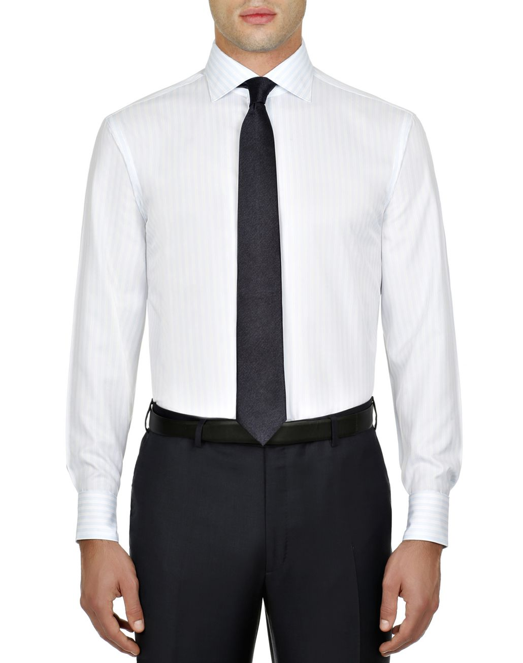 BRIONI Lead and White Striped Shirt Elegantes Hemd Herren r