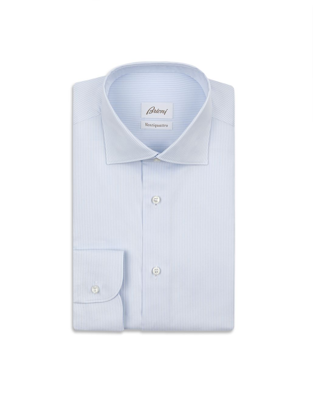 BRIONI White and Sky Blue Striped Shirt Formal shirt Man f
