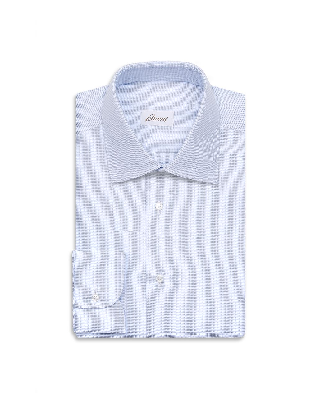 BRIONI White and Bluette Micro Plaid Shirt Formal shirt Man f
