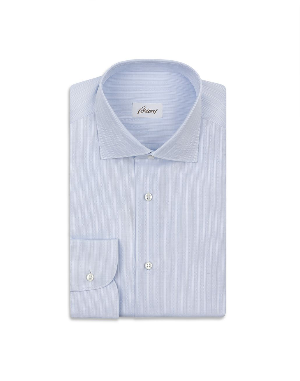 BRIONI Sky Blue Striped Formal Shirt Formal shirt Man f