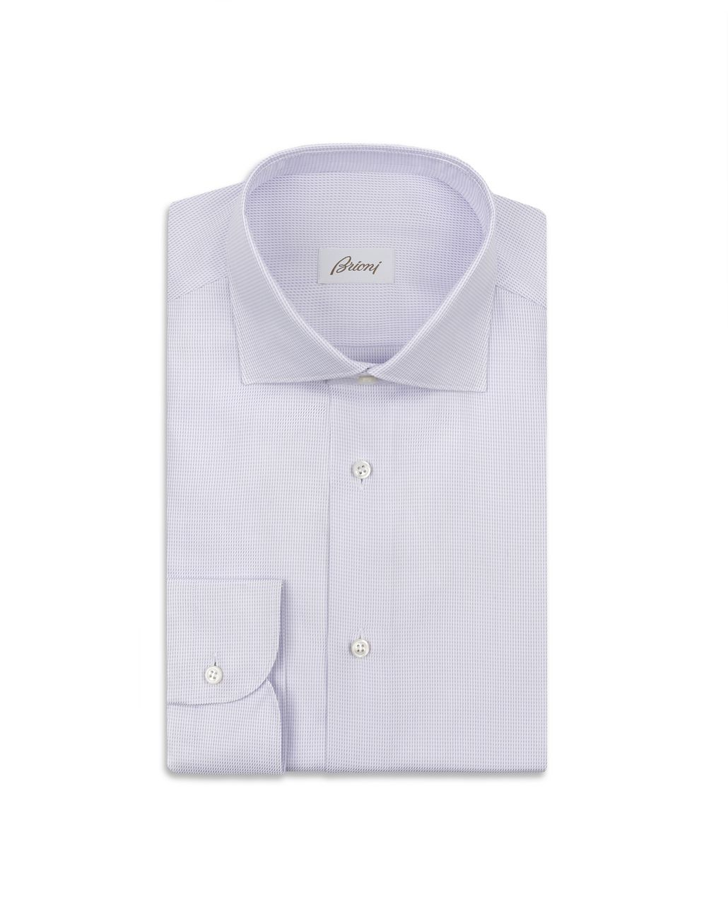 BRIONI White and Lilac Micro Plaid Shirt Formal shirt Man f