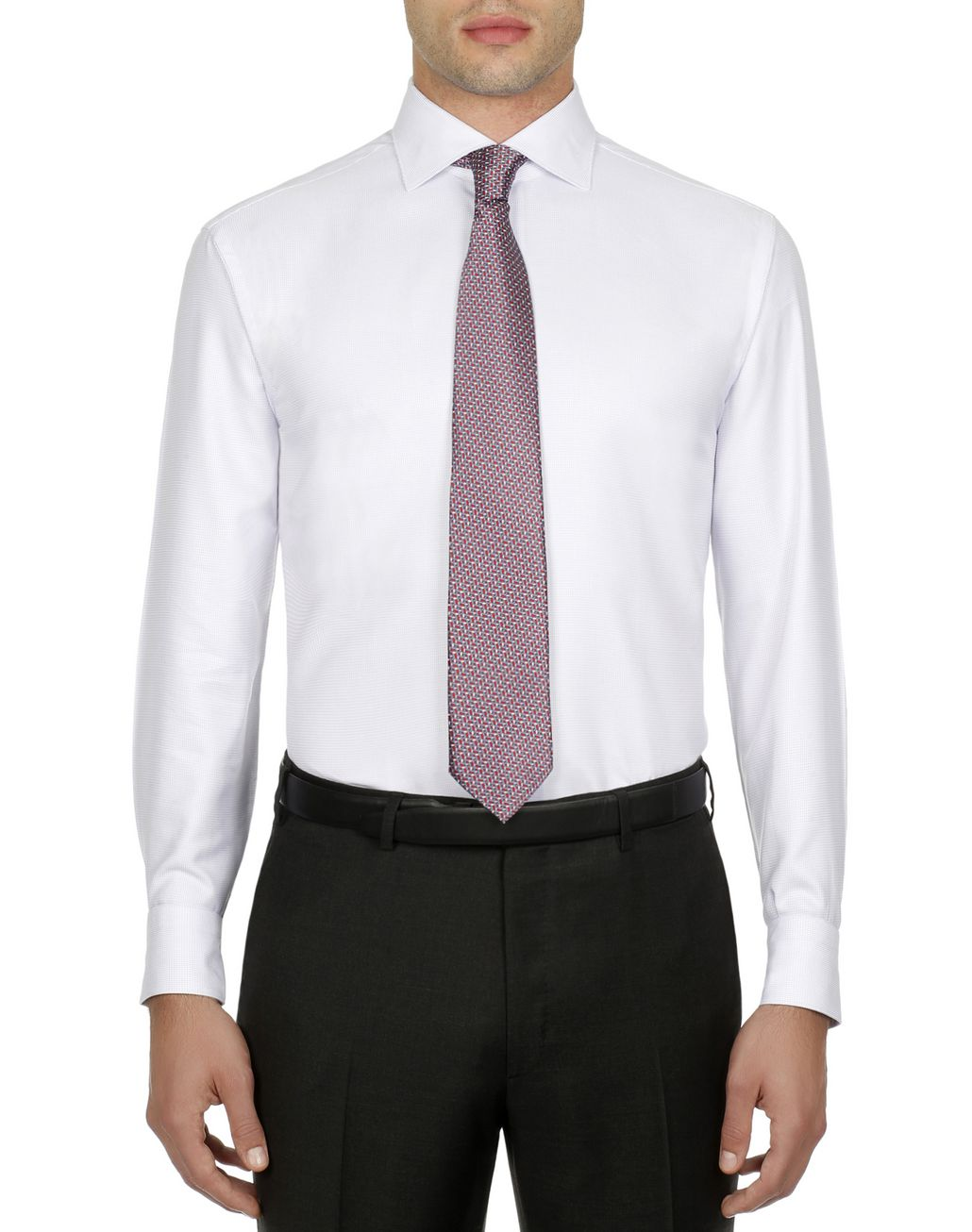 BRIONI White and Lilac Micro Plaid Shirt Formal shirt Man r