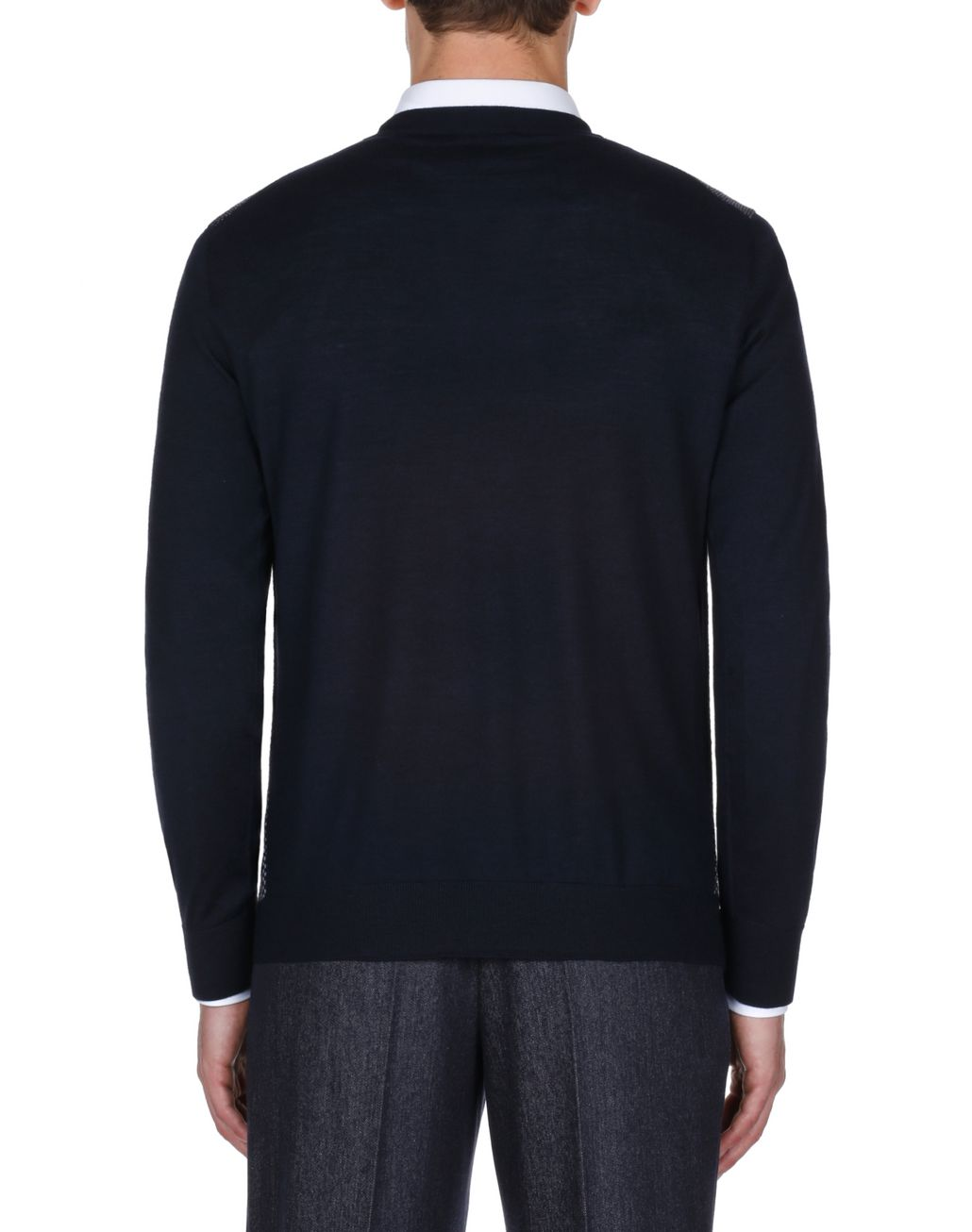 BRIONI Navy Blue and Bordeaux Crew Neck Sweater  Knitwear Man d