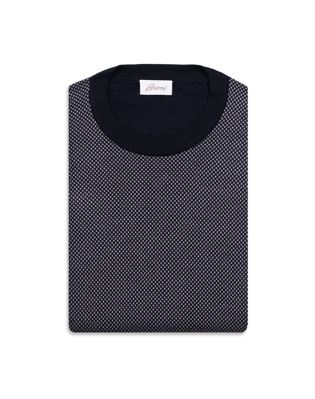 BRIONI Navy Blue and Bordeaux Crew Neck Sweater  Knitwear Man e