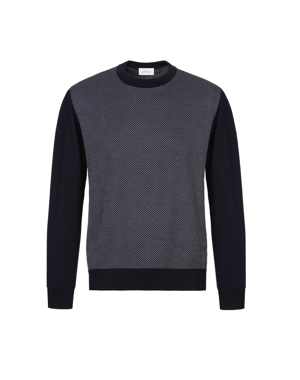 BRIONI Navy Blue and Bordeaux Crew Neck Sweater  Knitwear Man f