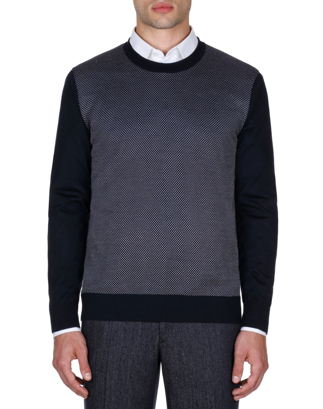 BRIONI Navy Blue and Bordeaux Crew Neck Sweater  Knitwear Man r