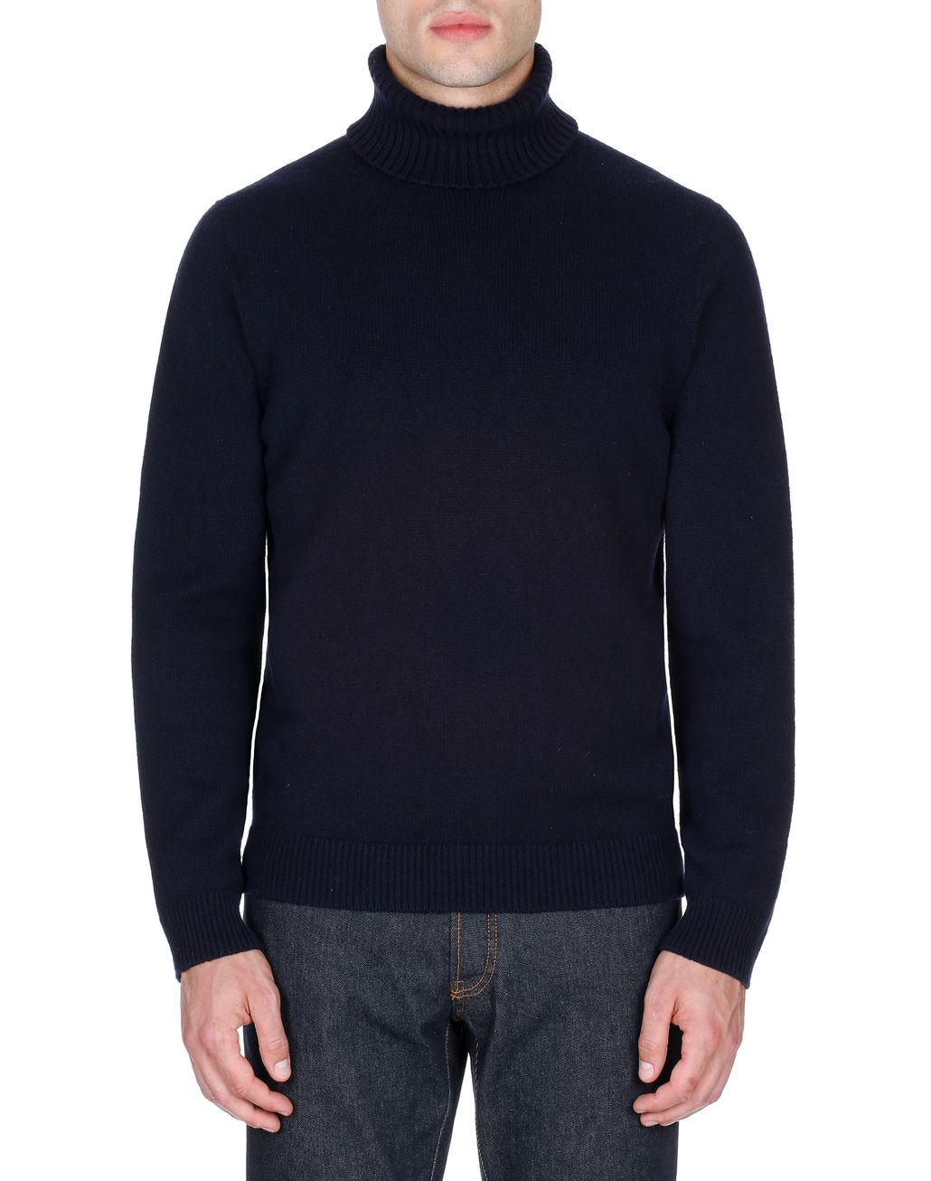 BRIONI Navy Blue Turtleneck Sweater Knitwear Man r