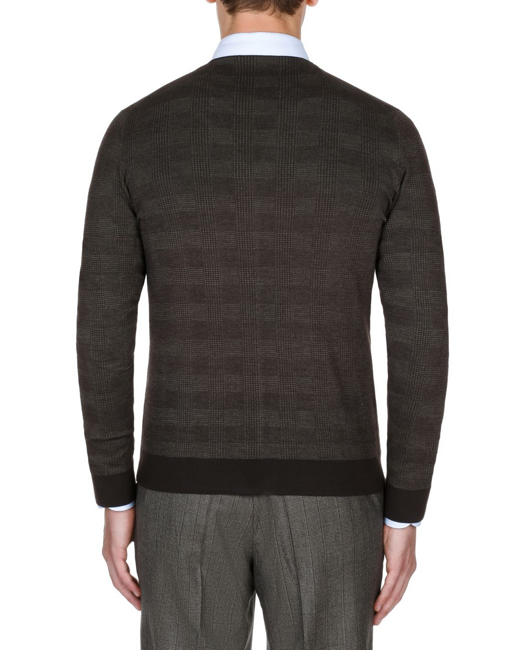 BRIONI Coffee and Beige Prince of Wales Cardigan Knitwear Man d