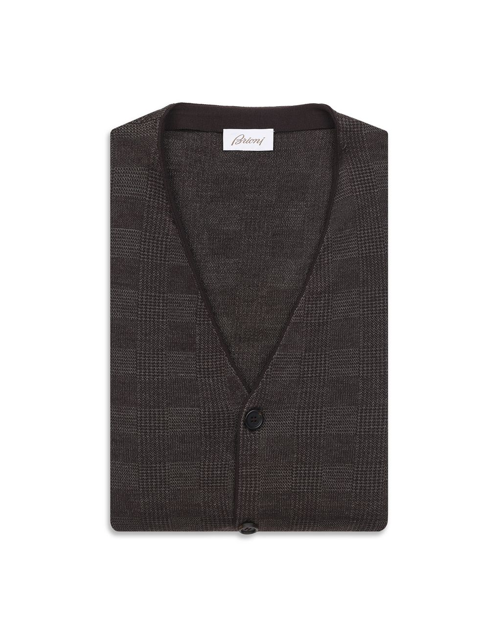 BRIONI Coffee and Beige Prince of Wales Cardigan Knitwear Man e