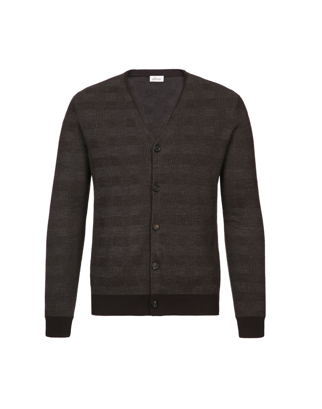 BRIONI Coffee and Beige Prince of Wales Cardigan Knitwear Man f