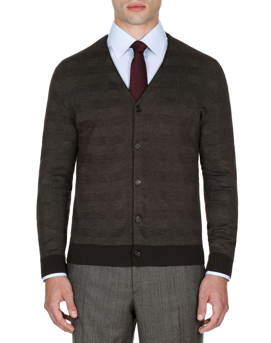 BRIONI Coffee and Beige Prince of Wales Cardigan Knitwear Man r