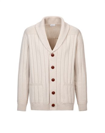 White Ribbed Cardigan