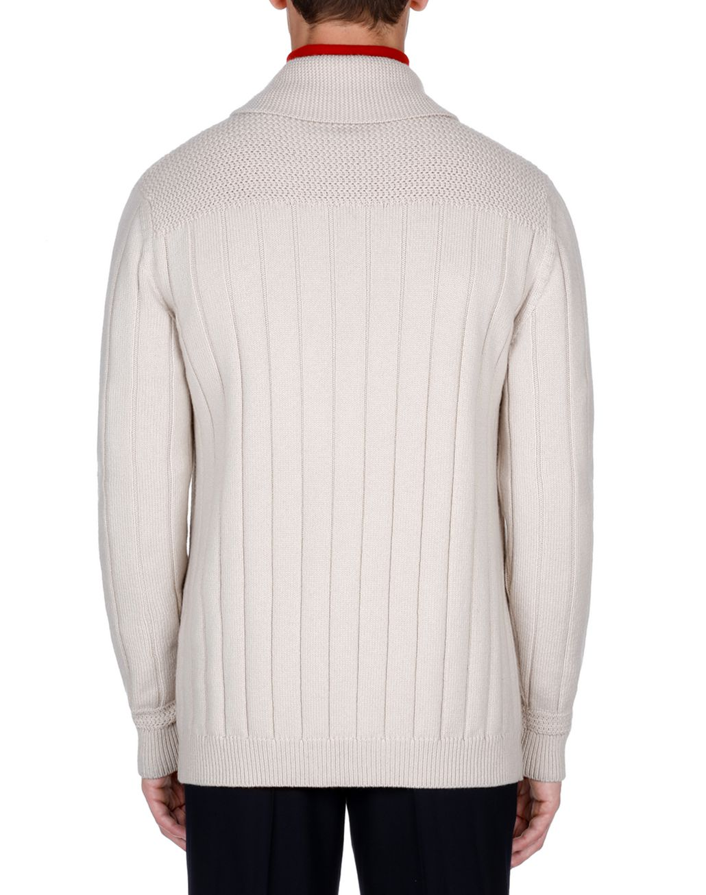 BRIONI White Ribbed Cardigan Knitwear Man d