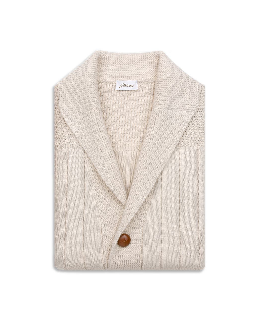 BRIONI White Ribbed Cardigan Knitwear Man e