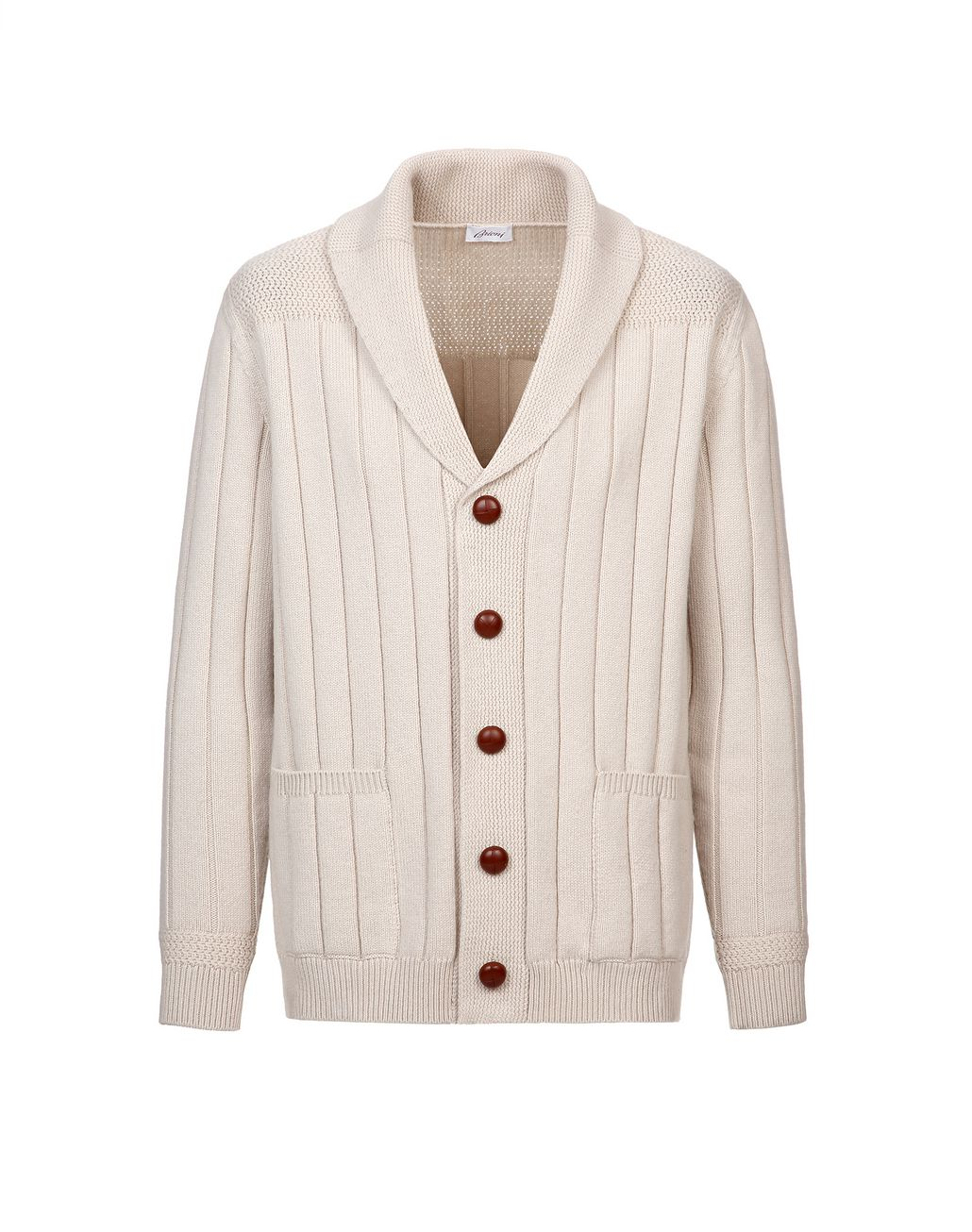 BRIONI White Ribbed Cardigan Knitwear Man f