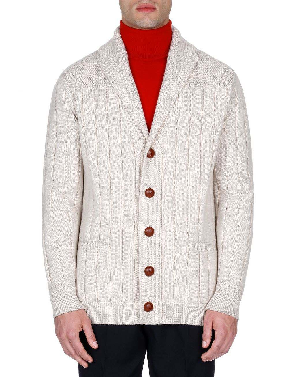 BRIONI White Ribbed Cardigan Knitwear Man r