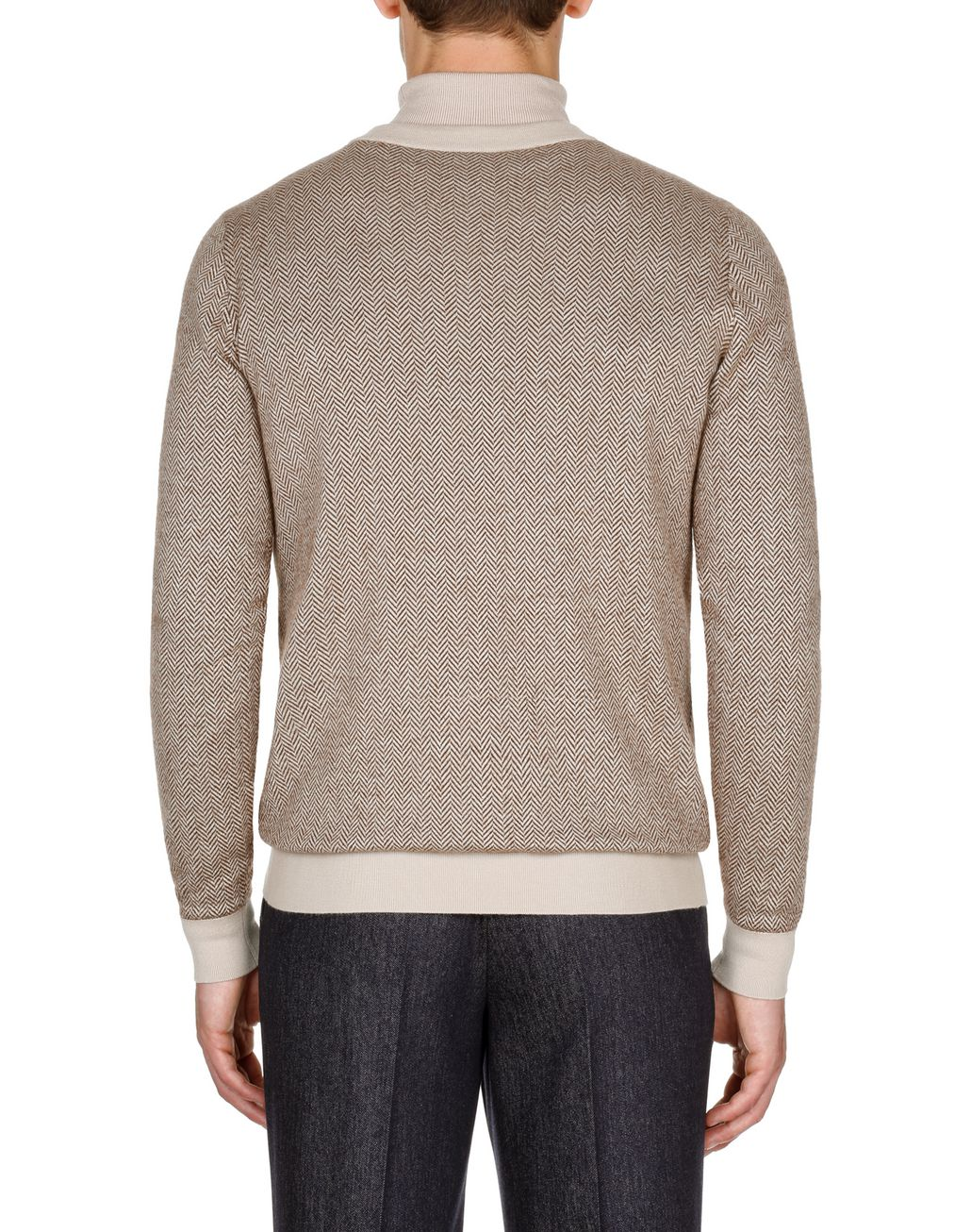 BRIONI Camel and Brown Herringbone V Neck Sweater Knitwear Man d