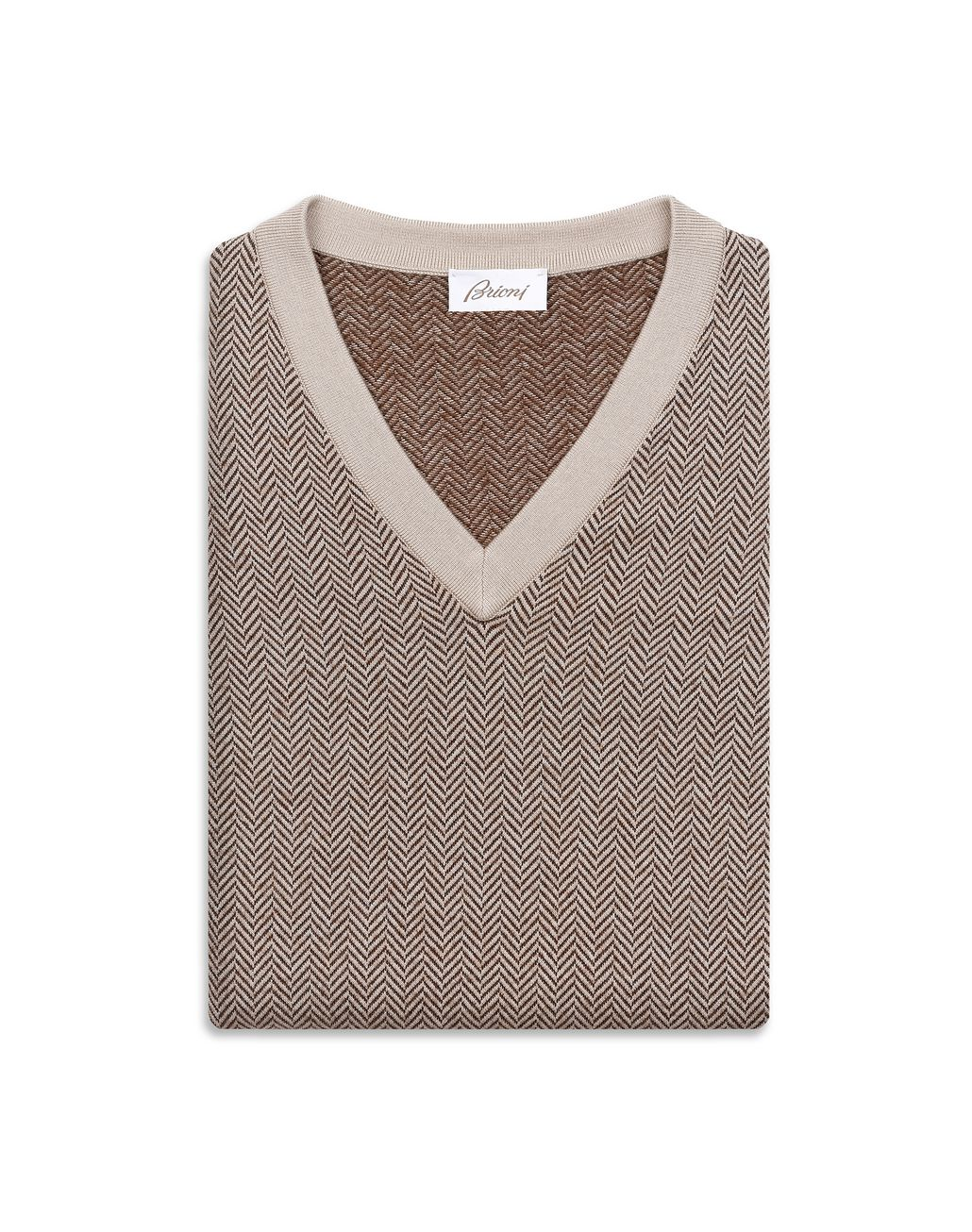 BRIONI Camel and Brown Herringbone V Neck Sweater Knitwear Man e