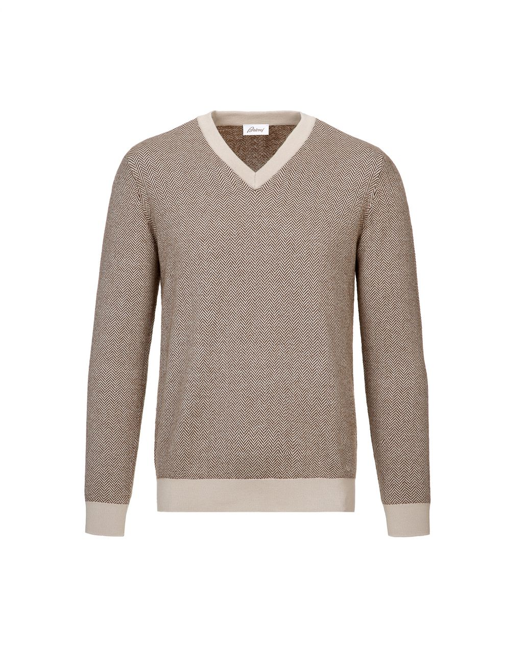 BRIONI Camel and Brown Herringbone V Neck Sweater Knitwear Man f
