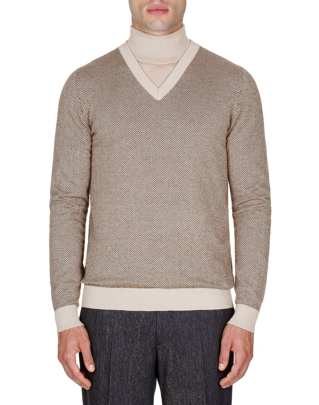 BRIONI Camel and Brown Herringbone V Neck Sweater Knitwear Man r