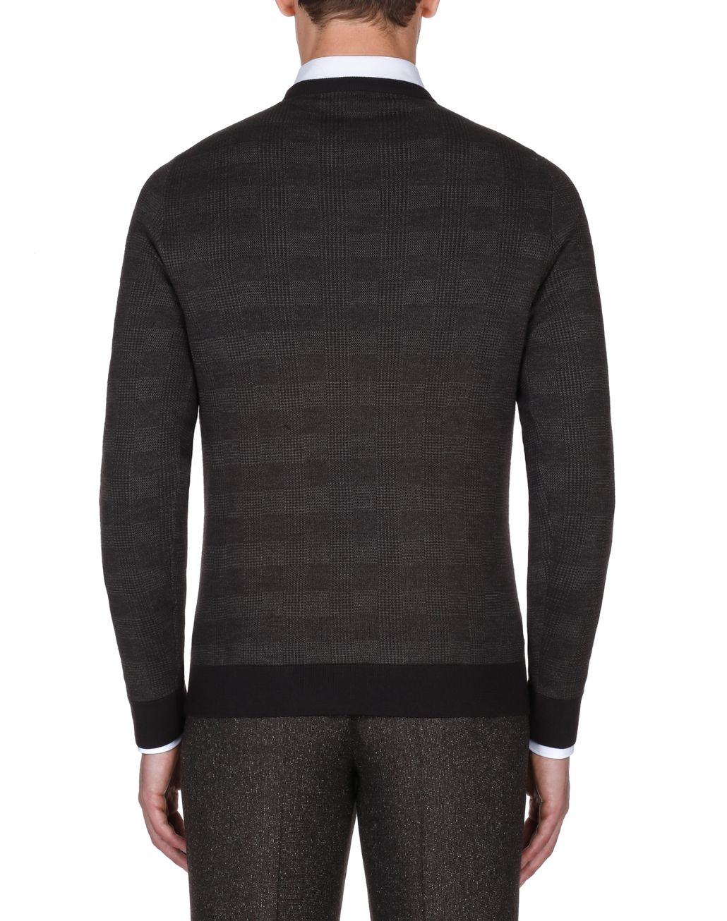 BRIONI Coffee and Beige Prince of Wales Sweater Knitwear Man d