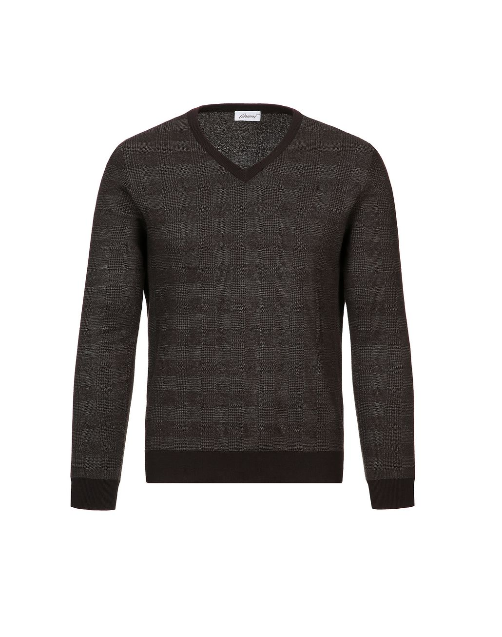BRIONI Coffee and Beige Prince of Wales Sweater Knitwear Man f