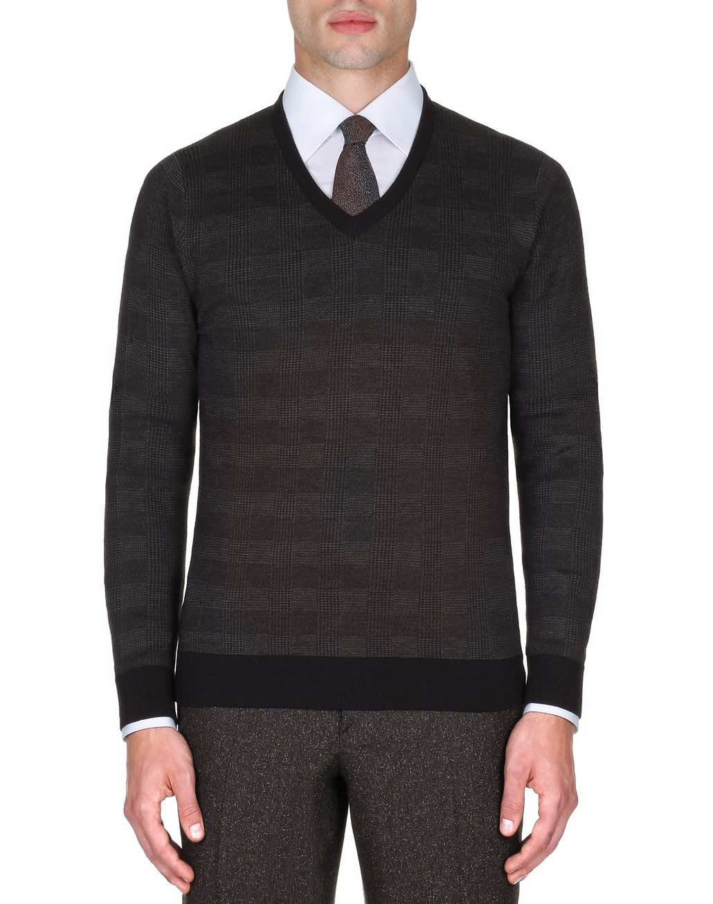 BRIONI Coffee and Beige Prince of Wales Sweater Knitwear Man r