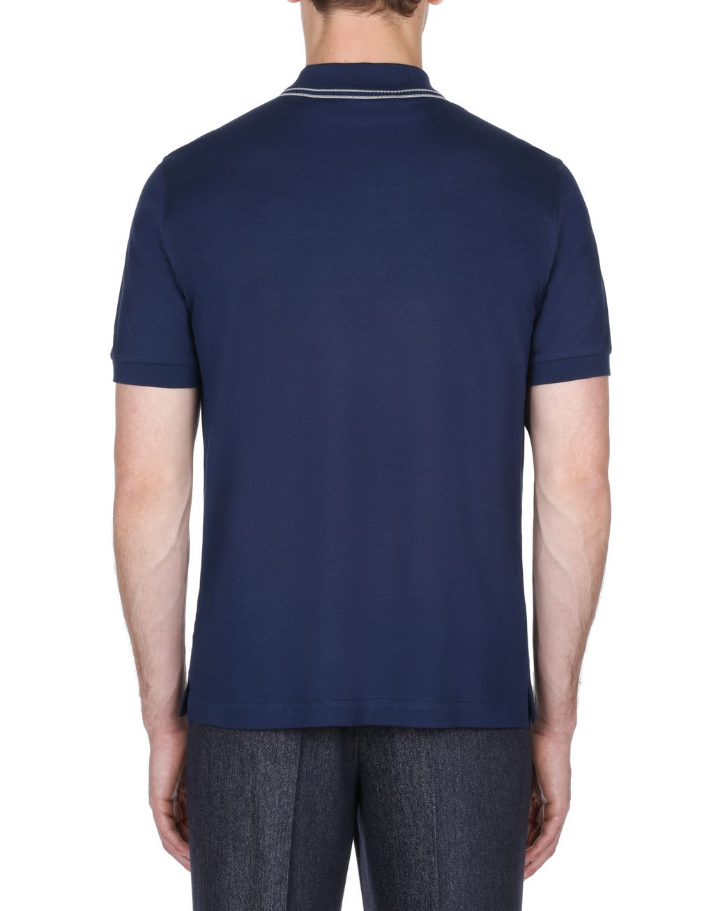 BRIONI Polo Blu Navy in Piquet con Logo T-Shirt & Polo Uomo d