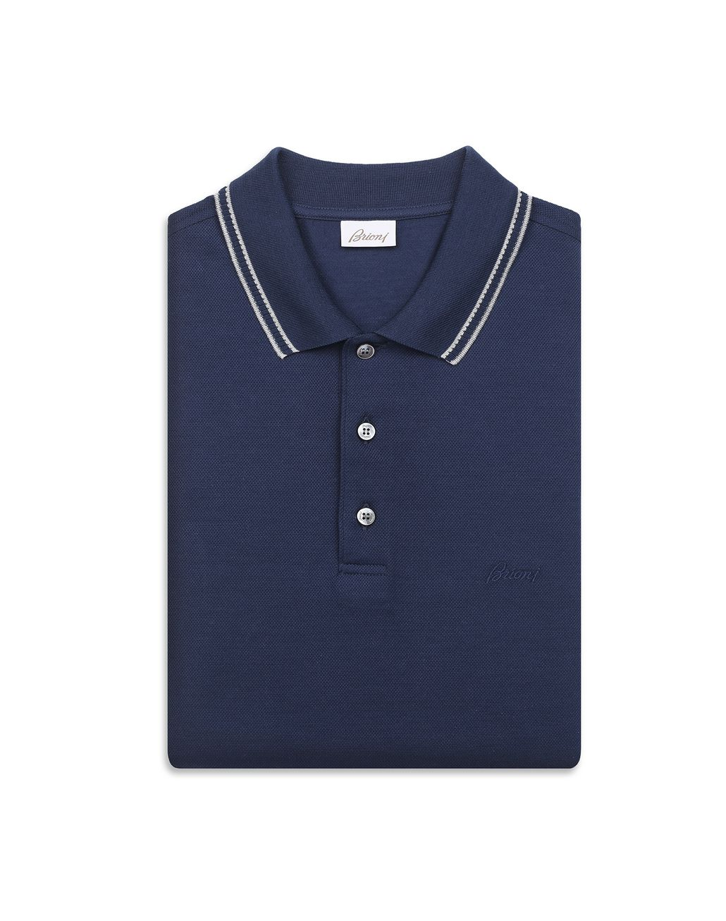 BRIONI Polo Blu Navy in Piquet con Logo T-Shirt & Polo Uomo e