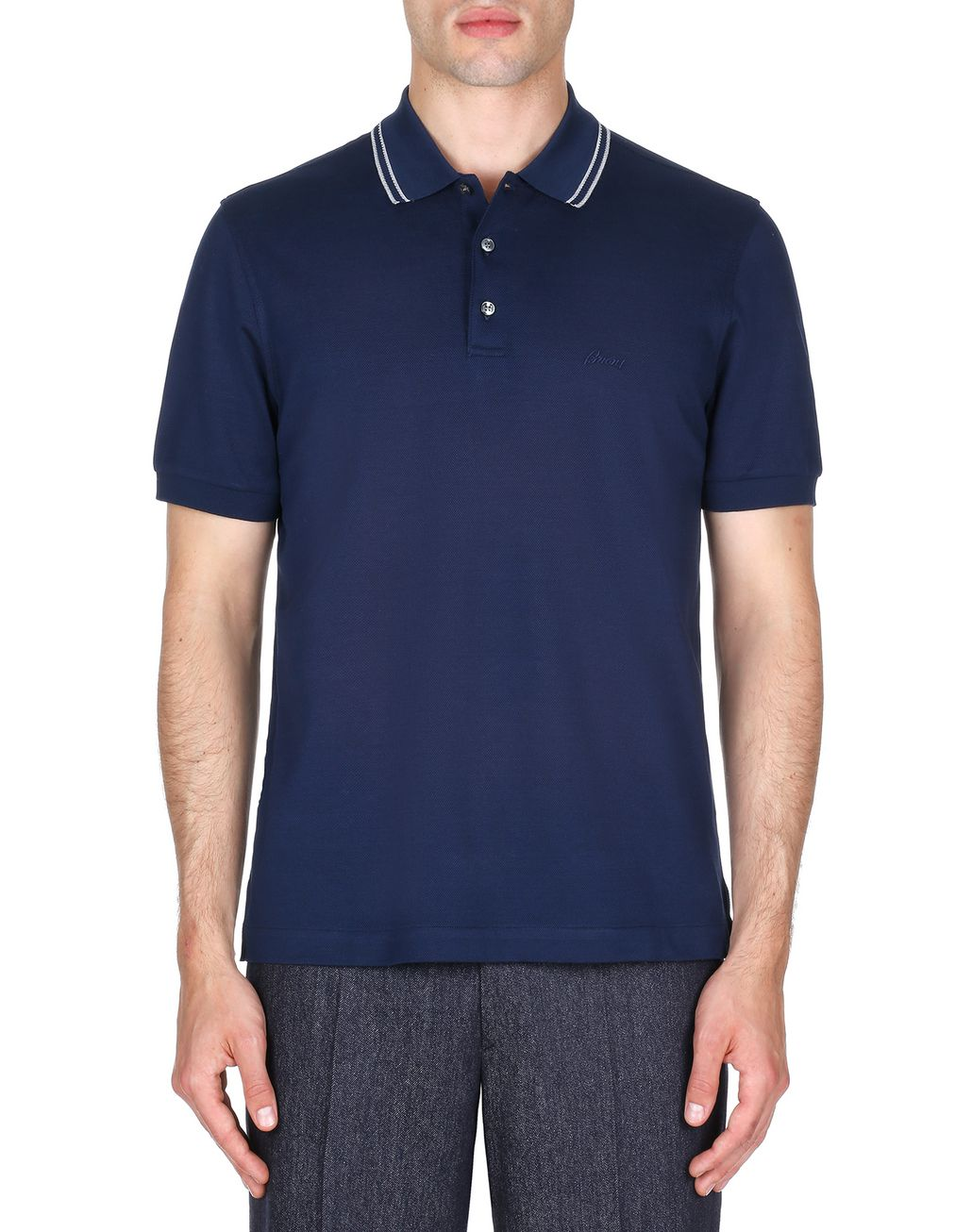 BRIONI Navy Blue Logoed Piquet Polo Shirt T-Shirts & Polos [*** pickupInStoreShippingNotGuaranteed_info ***] r