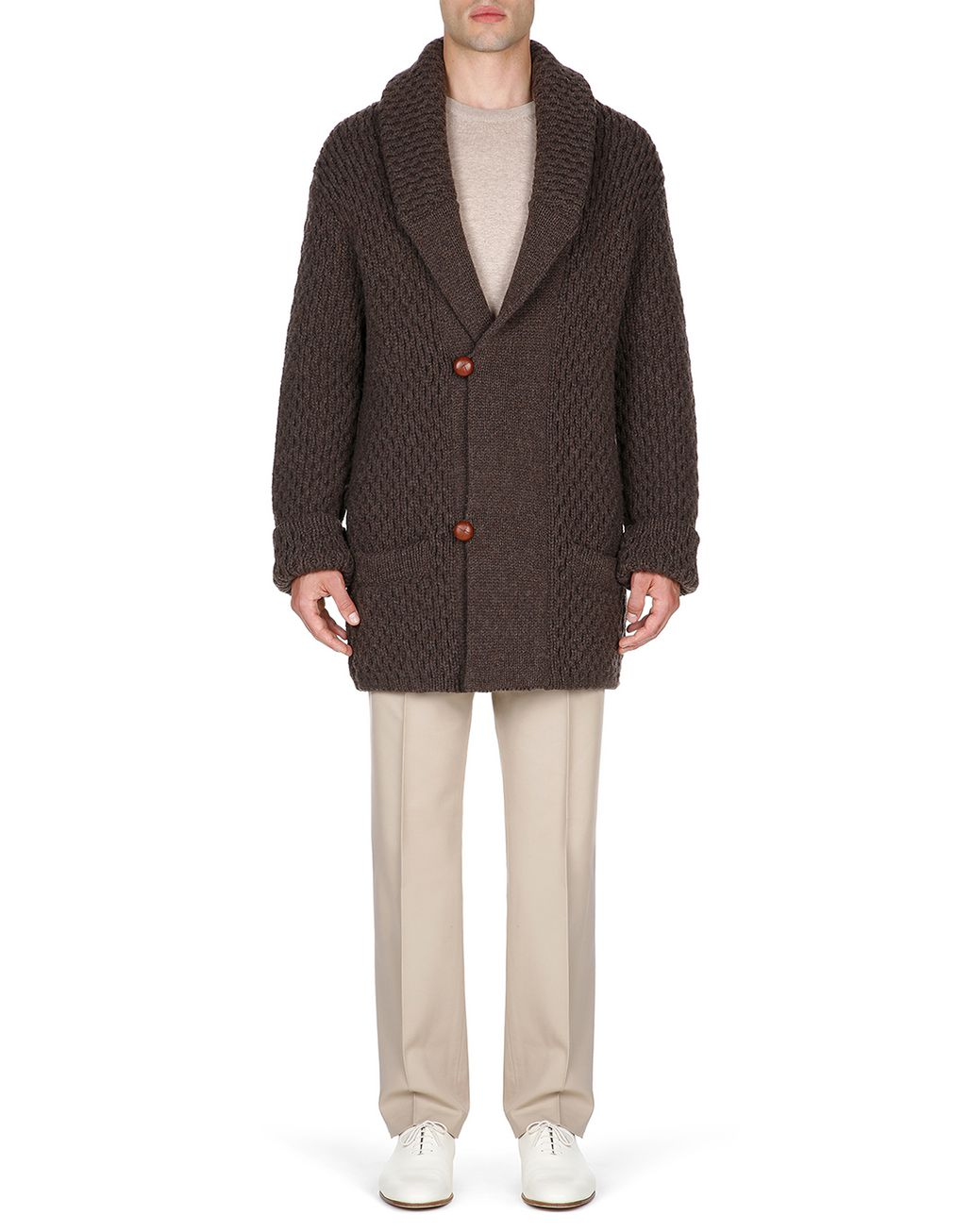 BRIONI Brown Knitwear Jacket Knitwear Man r