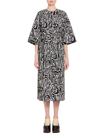 Marni Poplin dress Wood print Woman