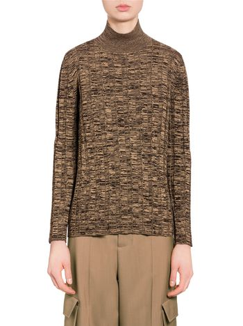 Marni Sweater in brown virgin wool with '70s rib Woman