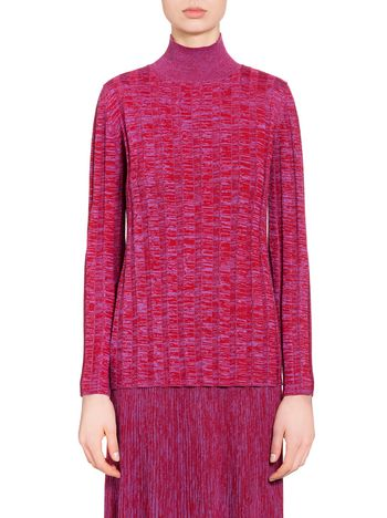 Marni Sweater in fuchsia virgin wool with '70s rib Woman