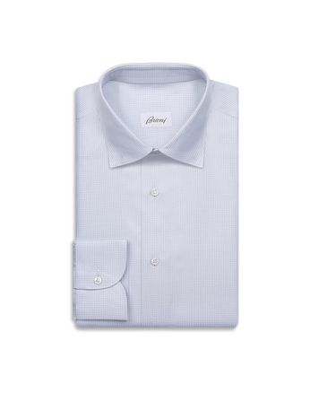 White and Lead Gingham Formal Shirt