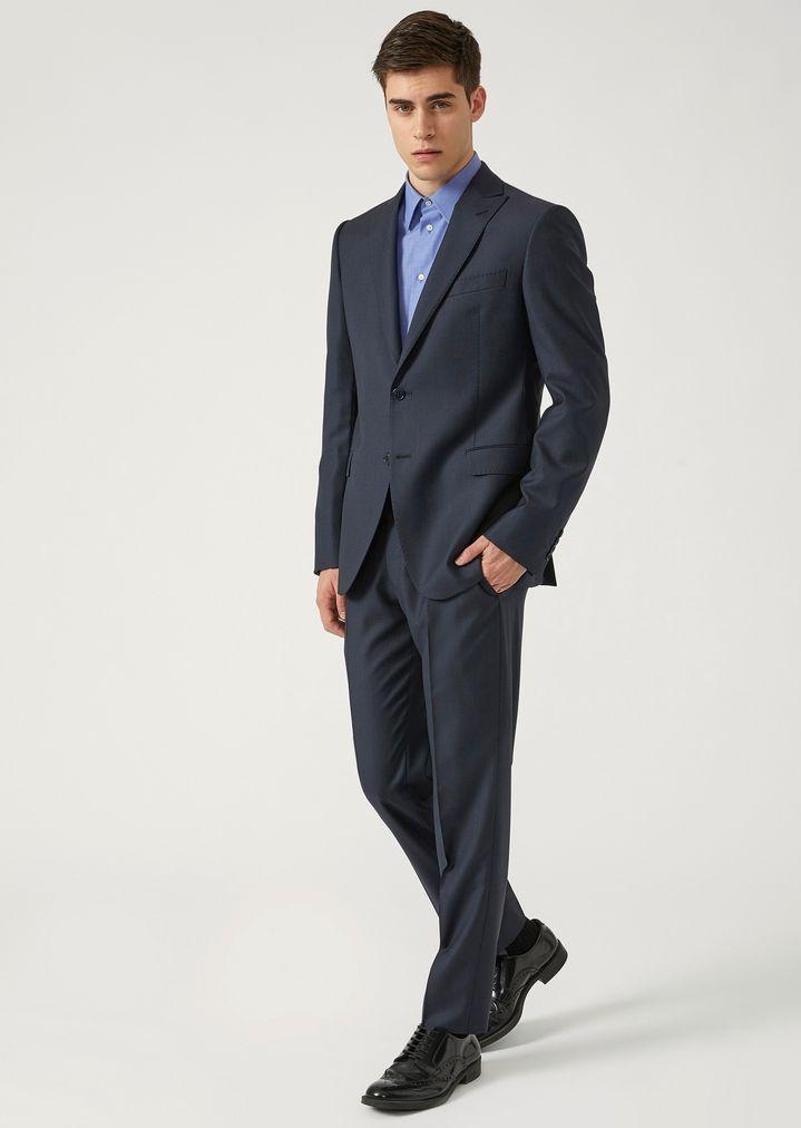 Anzug Modern Fit aus reiner Schurwolle mit einreihiger Jacke   Herren   Emporio  Armani d77eec6093