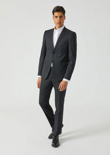 Costume en laine armurée avec veste droite et pantalon tube aee922a7e1c