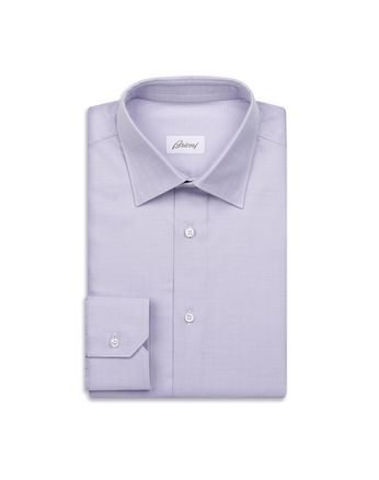White and Mauve Herringbone Shirt