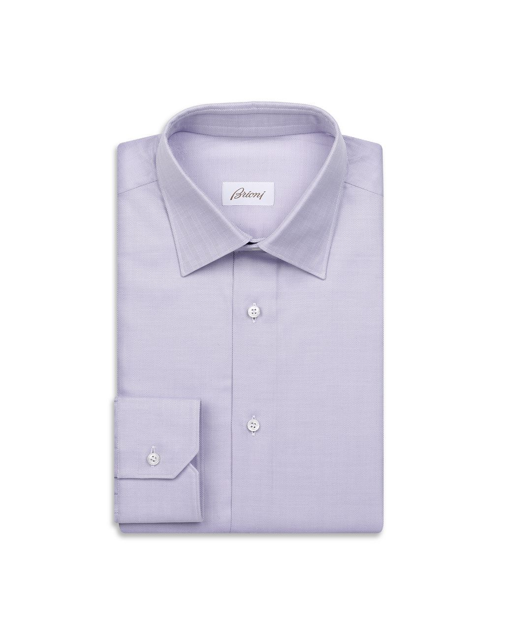 BRIONI White and Mauve Herringbone Shirt Formal shirt Man f